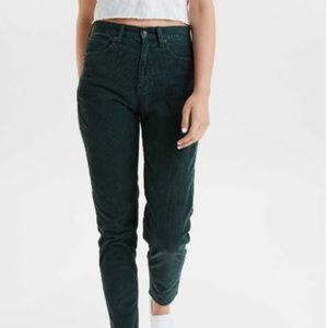 """Corduroy Green American Eagle """"Mom Jeans"""" Size 18"""